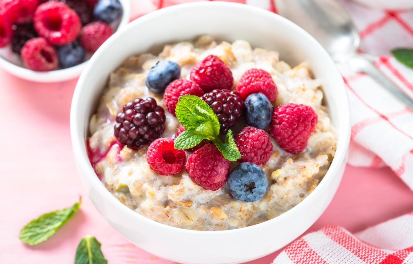 Wallpaper Berries Raspberry Breakfast Milk Blueberries