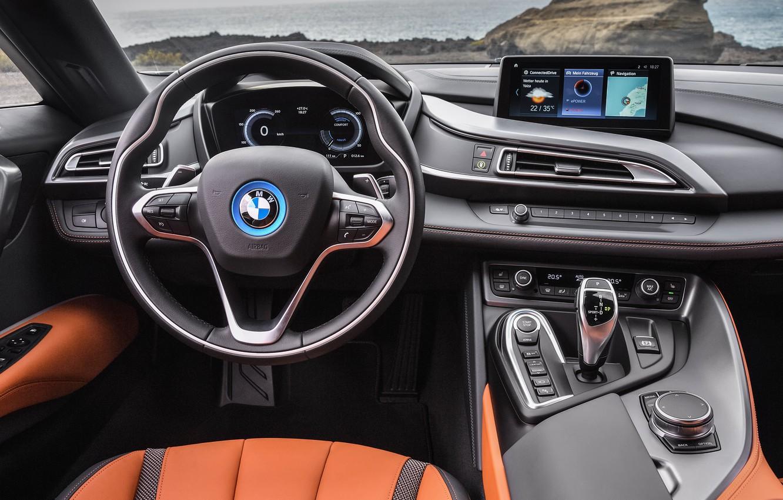 Photo wallpaper Roadster, the wheel, salon, 2018, BMW i8