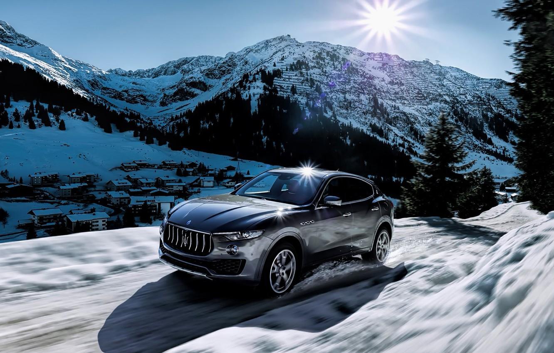 Photo wallpaper winter, the sun, snow, mountains, Maserati, levante