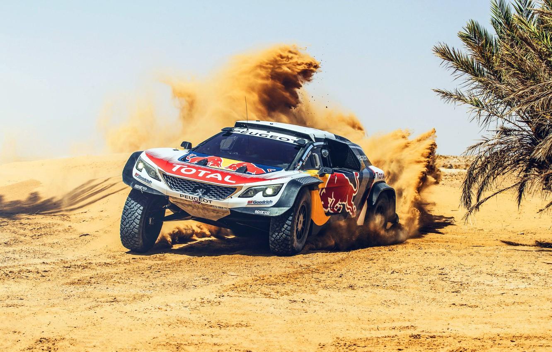 Photo wallpaper Sand, Sport, Speed, Skid, Peugeot, Red Bull, Rally, Rally, Sport, The front, RedBull, DKR, 3008, …