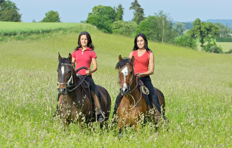 Photo wallpaper greens, field, grass, the sun, trees, girls, two, horse, walk, brunette, rider