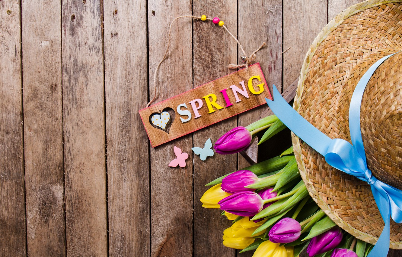 Photo wallpaper butterfly, flowers, spring, hat, yellow, colorful, tulips, yellow, wood, flowers, tulips, spring, purple, eggs, decoration