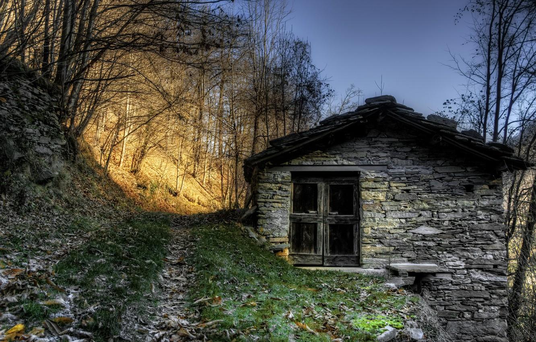 Photo wallpaper road, light, house