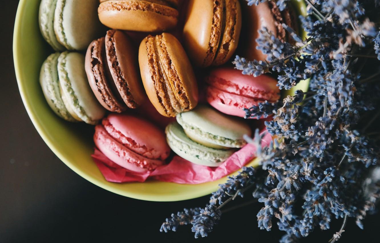 Photo wallpaper cookies, lavender, macaron, macaron