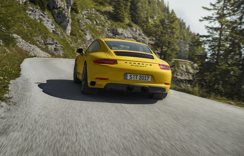 Photo wallpaper road, yellow, movement, tree, vegetation, Porsche, 2018, 911 Carrera T, 370 HP