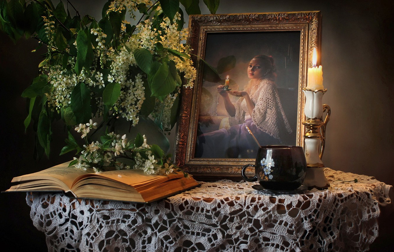 Photo wallpaper portrait, candle, Cup, book, still life, cherry