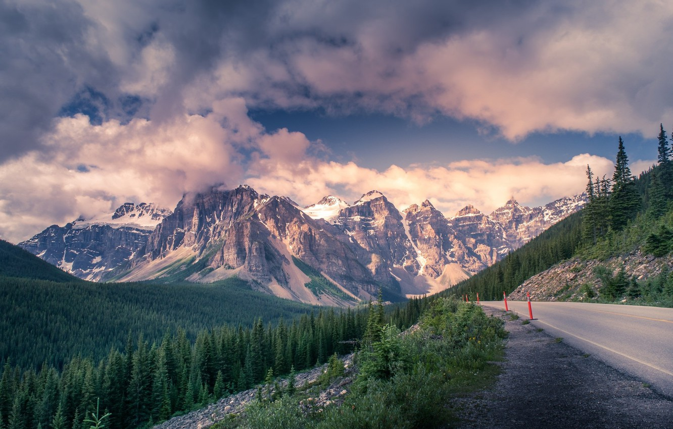 Photo wallpaper road, clouds, mountains, beauty