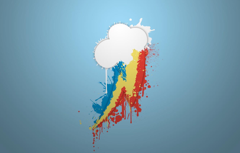 Photo wallpaper white, blue, yellow, red, blue, paint, pony, rainbow, cloud, Rainbow Dash, MLP, pony, My little …