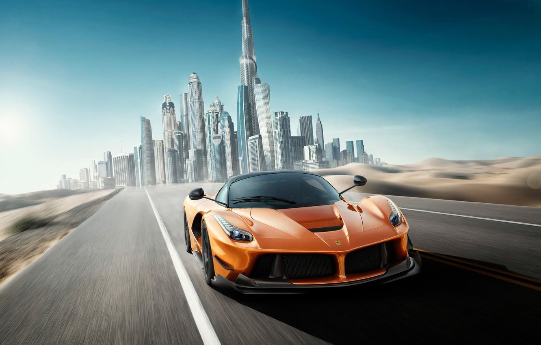 Photo wallpaper Ferrari, supercar, Dubai, Dubai, LaFerrari