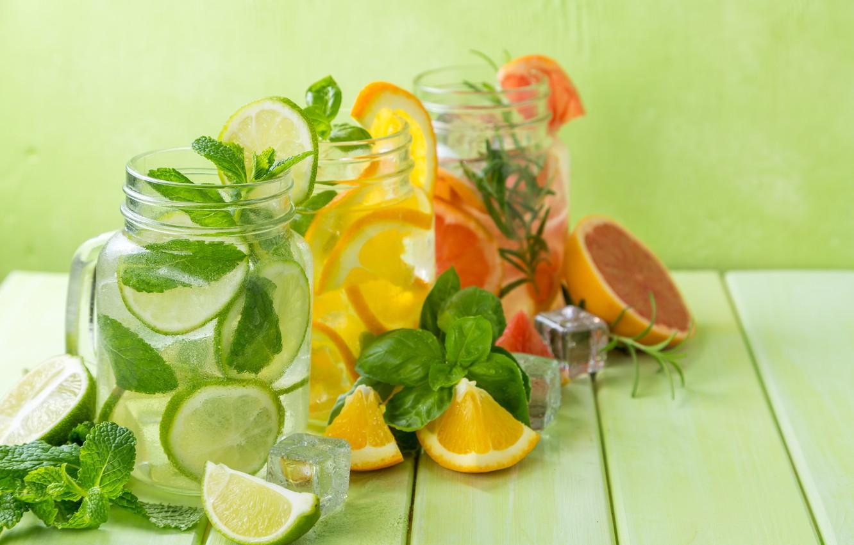 Photo wallpaper orange, lime, drinks, mint, lemonade, ice cubes