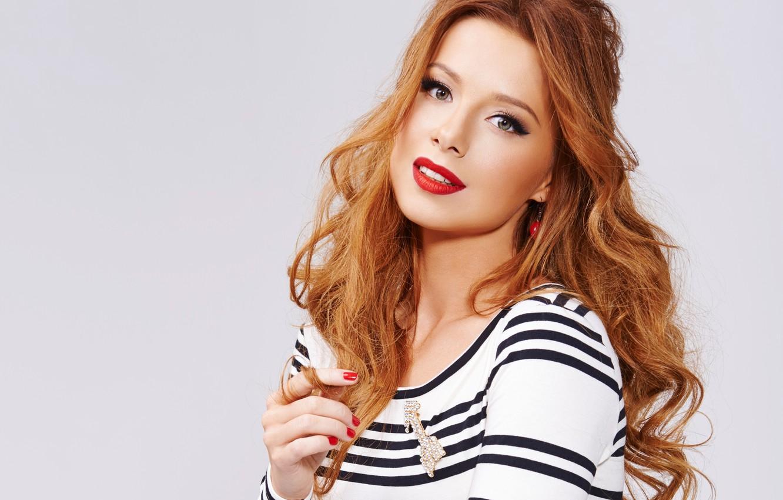 Photo wallpaper singer, red, Julia Savicheva