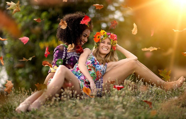 Photo wallpaper leaves, joy, mood, two girls, wreath, smile, girlfriend
