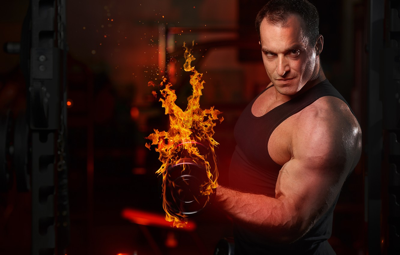 Photo wallpaper Look, Fire, Dumbbells, Male, Fitness, Bodybuilding, Muscle