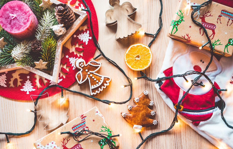 Photo wallpaper decoration, holiday, gift, orange, candles, cookies, garland, Santa Claus