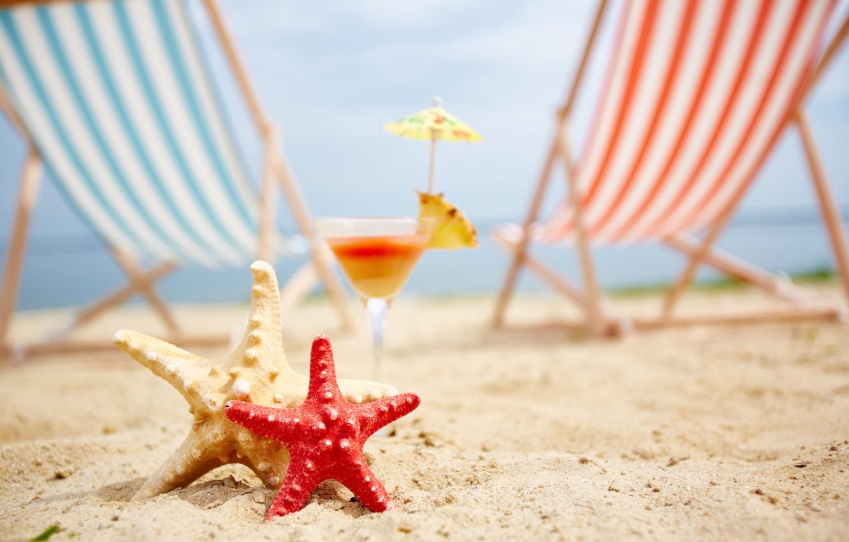 Photo wallpaper sand, sea, beach, summer, stay, chaise, starfish, summer, beach, vacation, sea, sand, vacation, starfish, seashells
