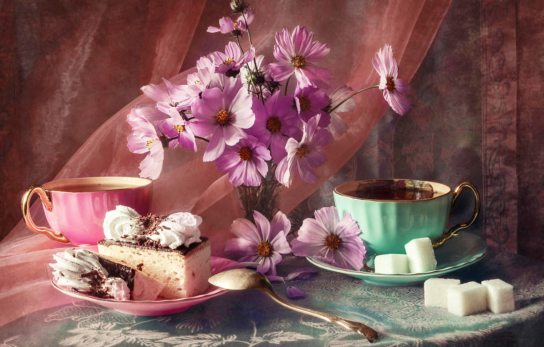 Photo wallpaper flowers, Cup, fabric, sugar, still life, table, veil, saucer, cakes, tablecloth, still life, kosmeya, Anastasia …