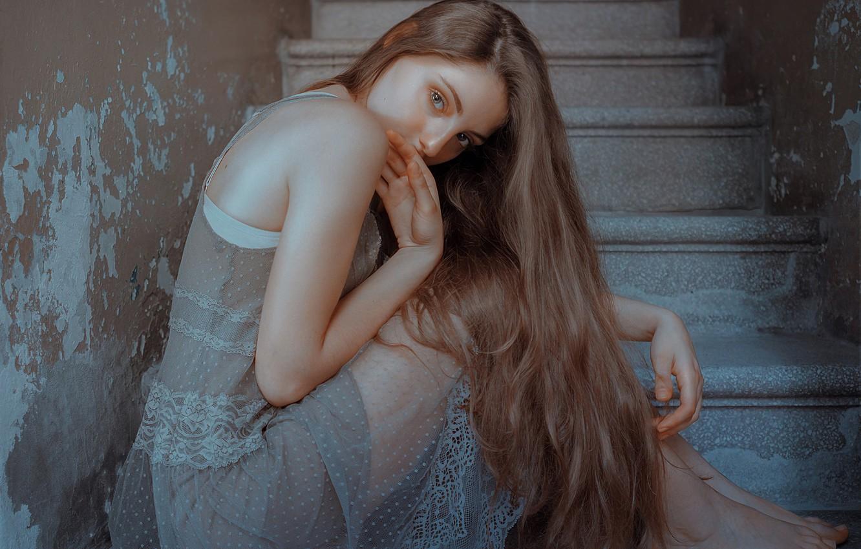 Photo wallpaper girl, ladder, Alexandra, SUMMER