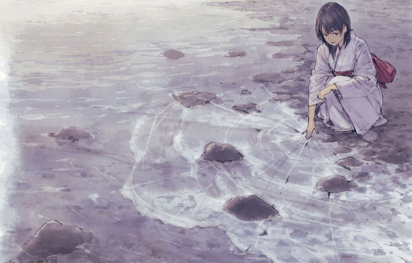 Photo wallpaper ice, sea, girl, kimono