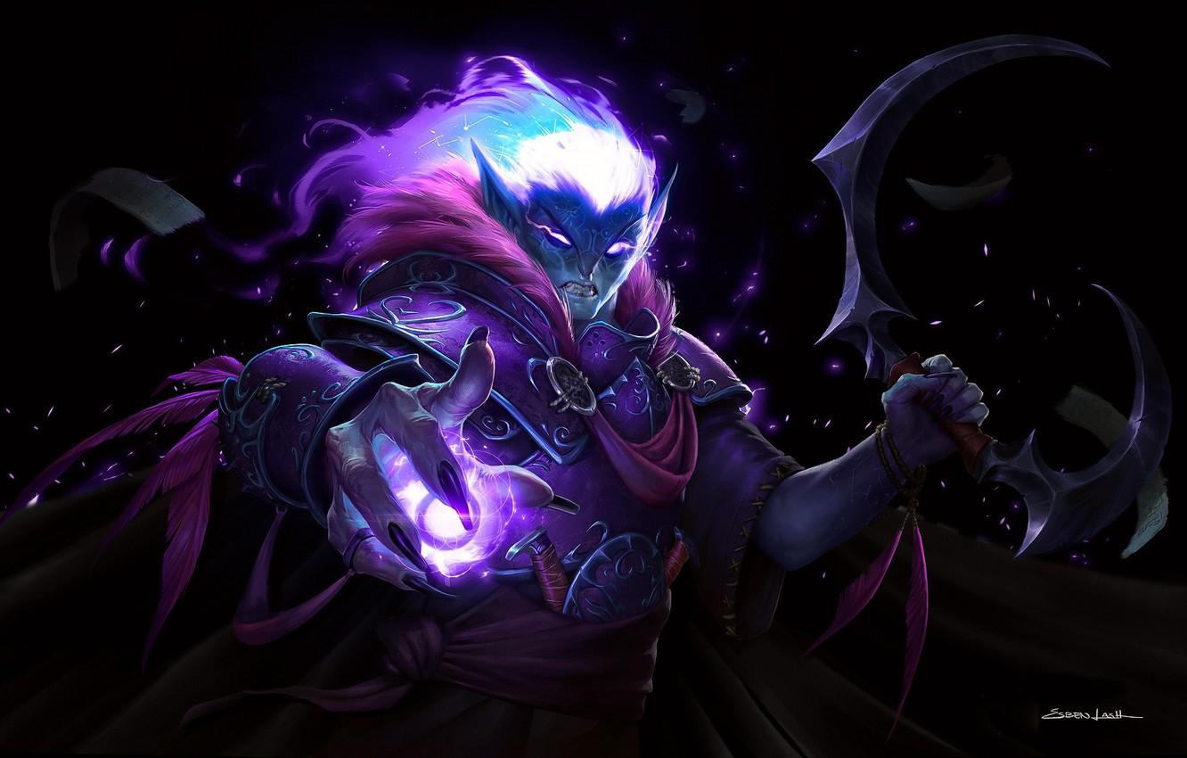Photo wallpaper magic, World of Warcraft, Wow, MAG, art, Esben Lash Rasmussen, Astro Mage, dark elf