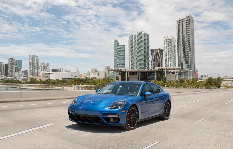 Photo wallpaper road, auto, blue, the city, speed, Porsche, Panamera, turbo, Porsche, blue