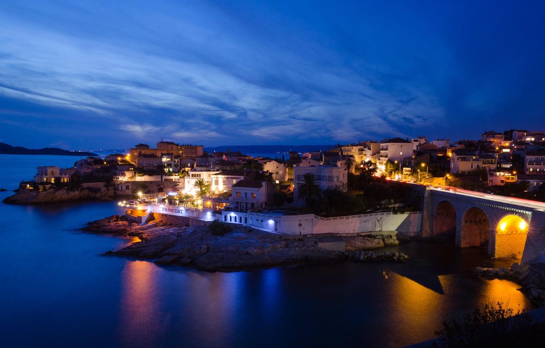 Photo wallpaper night, lights, France, Marseille