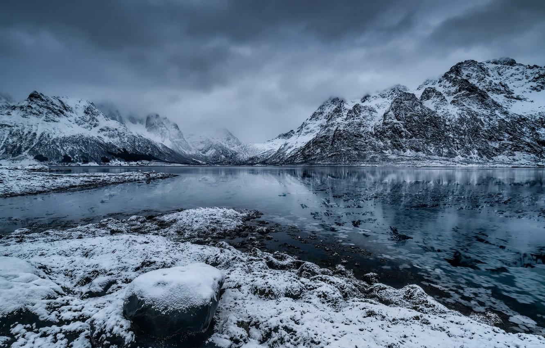 Wallpaper Norway Nordland Vestpollen Icy Fjord Images For