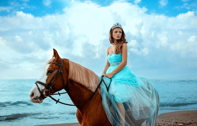Photo wallpaper sea, the sky, girl, mood, horse, horse, dress, Alessandro Di Cicco, Margaret Sicignano