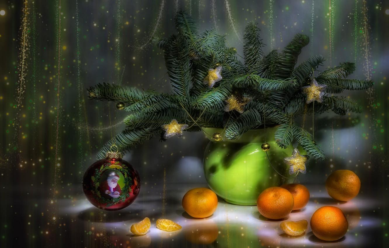 Photo wallpaper new year, still life, tangerines