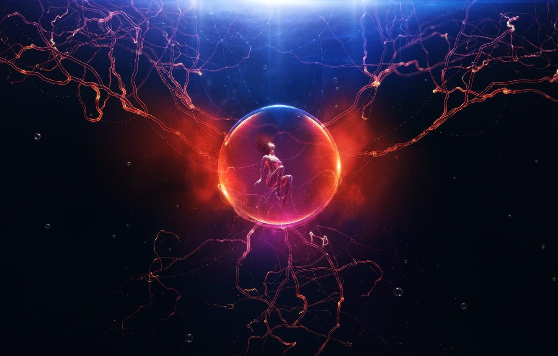 Photo wallpaper light, darkness, bubbles, woman, ball, plasma, symbiosis