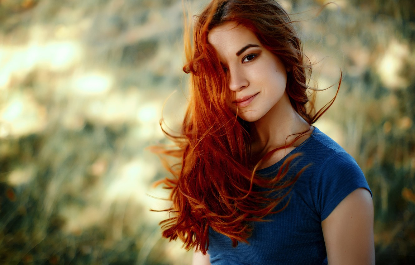 Photo wallpaper look, girl, smile, background, sweetheart, portrait, makeup, hairstyle, redhead, bokeh