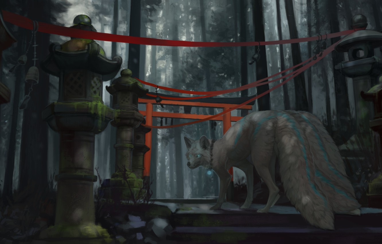 Photo wallpaper Japan, lights, stage, nine-tailed, art, red ribbon, the demon-Fox, fox demon, mysterious forest, torii gate, …