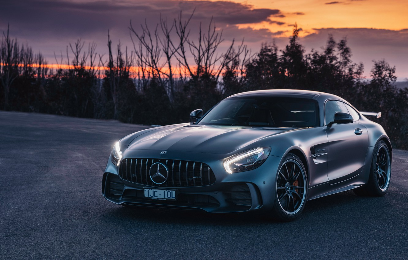 Photo wallpaper sunset, Mercedes-Benz, the evening, supercar, AMG, 2018, GT R