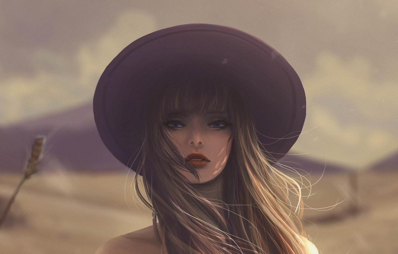 Photo wallpaper girl, face, hat, long hair, art, blurred background, Jennyshiii