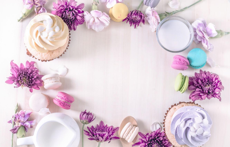 Photo wallpaper colorful, chrysanthemum, dessert, pink, flowers, cakes, sweet, sweet, cupcake, dessert, macaroon, french, macaron, tender, macaroon