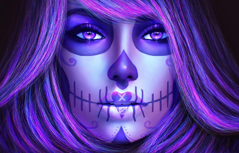 Photo wallpaper look, girl, face, hair, art, day of the dead, sugar skull, catrina