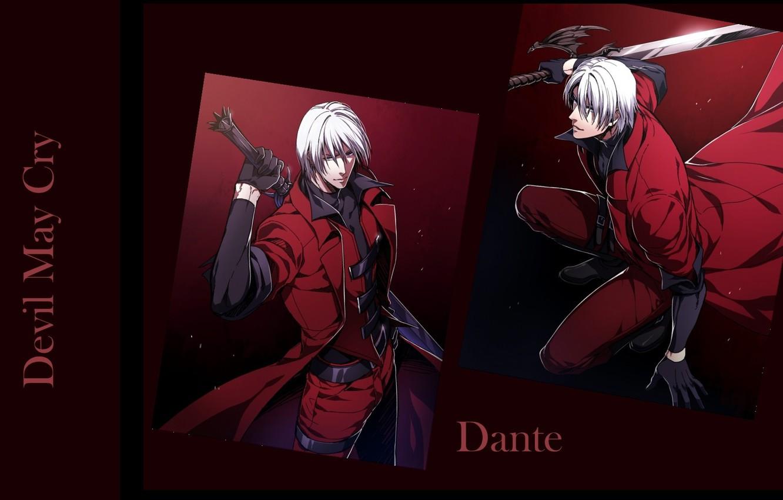 Photo wallpaper sword, guy, killer, Dante, gray, red coat, cool, Devil May Cry, in the dark, Devil …