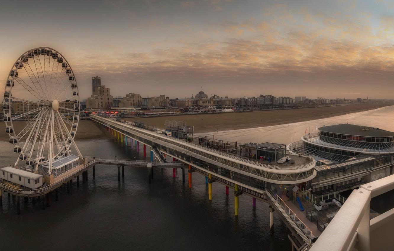 Photo wallpaper sunset, pier, Netherlands, Scheveningen