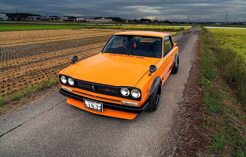 Photo wallpaper Auto, Machine, Orange, Nissan, Field, Nissan, Lights, Car, 2000, Skyline, Nissan Skyline, 1972, 2000GT, Japanese, …