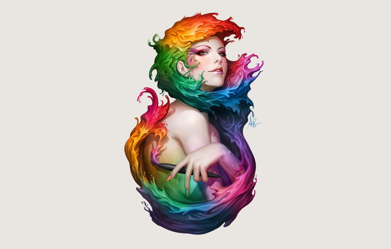 Photo wallpaper Red, Girl, Pink, Figure, Blue, Green, Girl, Orange, Pink, Orange, Red, Purple, Purple, Color, Paint, …