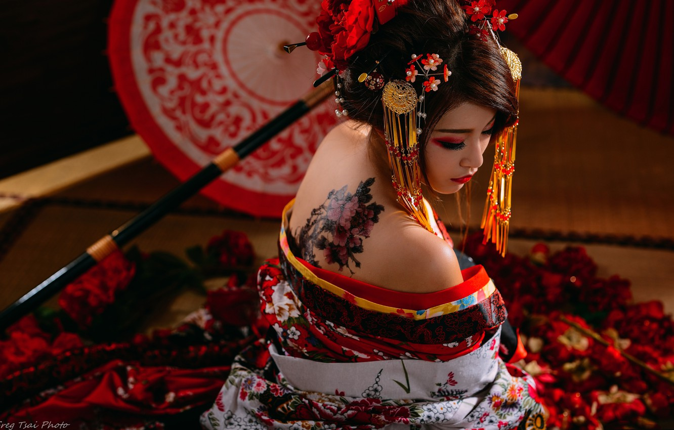 Photo wallpaper style, model, interior, umbrella, Japan, tattoo, Asian