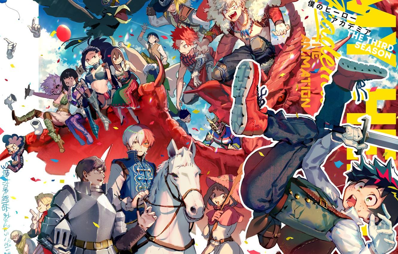 Photo wallpaper anime, art, characters, costumes, Boku No Hero Academy, My Hero Academy