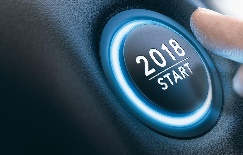 Photo wallpaper new year, finger, button, start, 2018