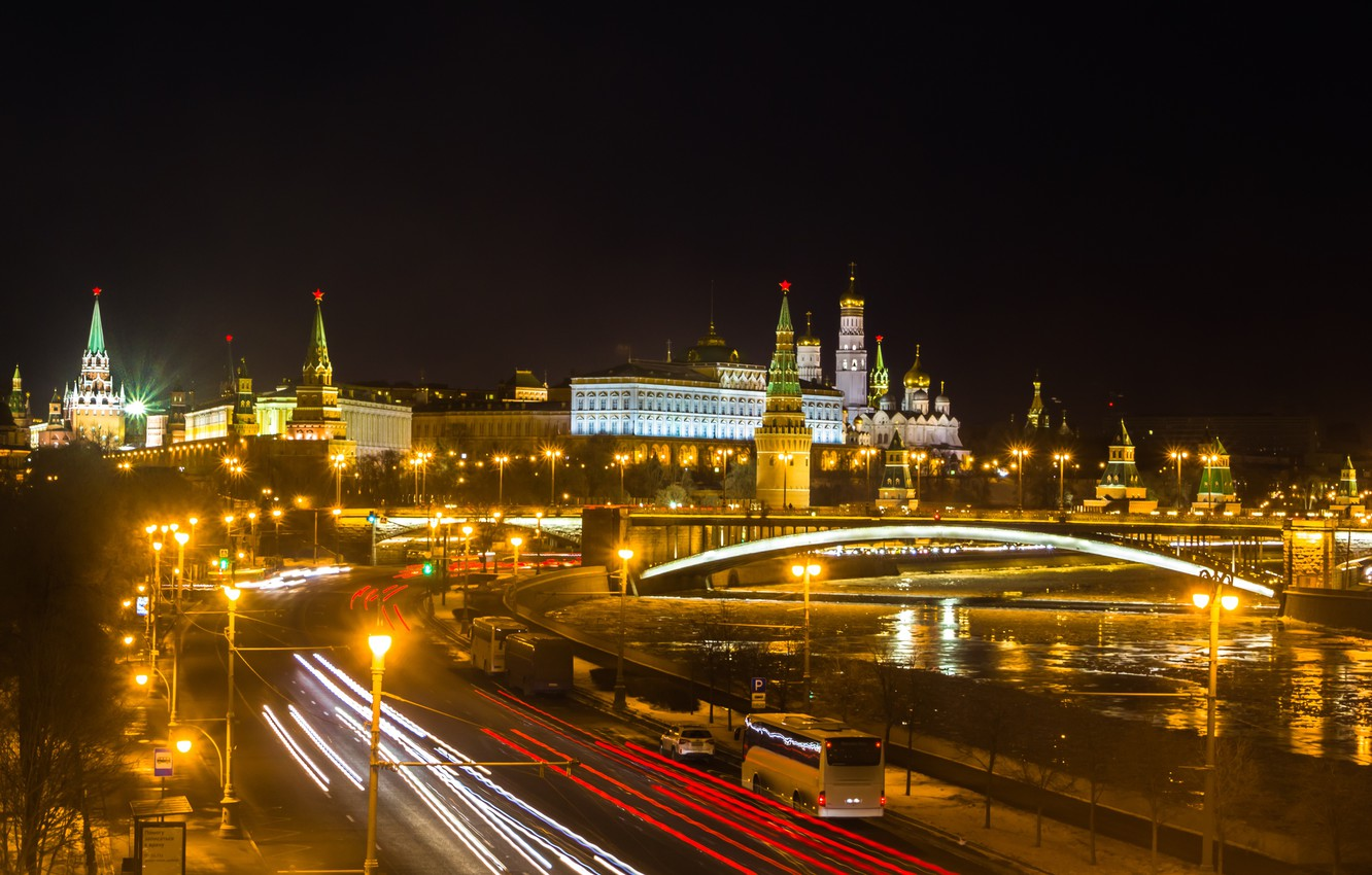 Photo wallpaper night, the city, lights, river, Moscow, The Kremlin, Russia, Moscow, Kremlin