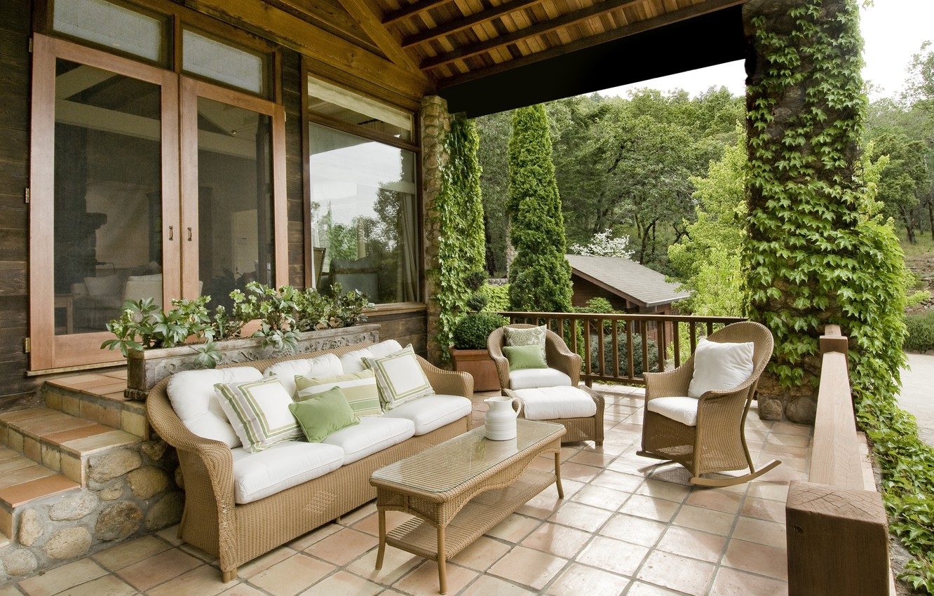 Photo wallpaper furniture, terrace, country house
