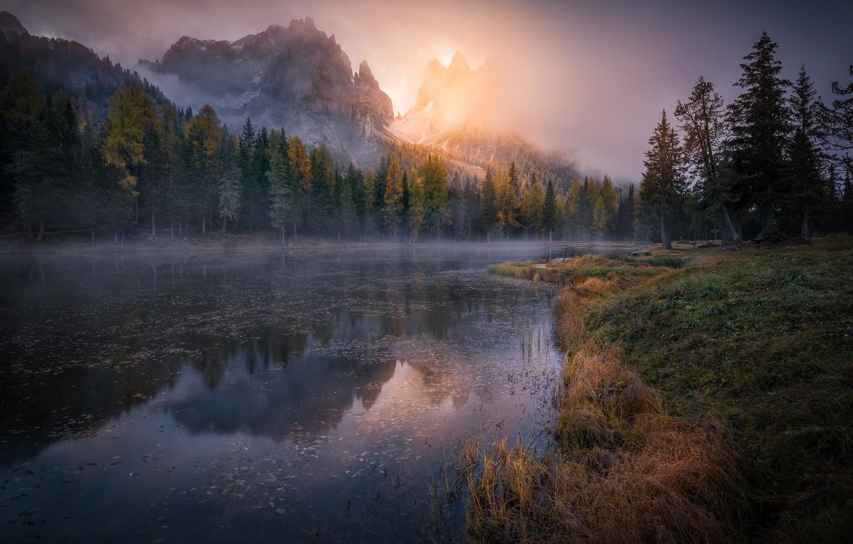 Photo wallpaper autumn, forest, mountains, river, haze