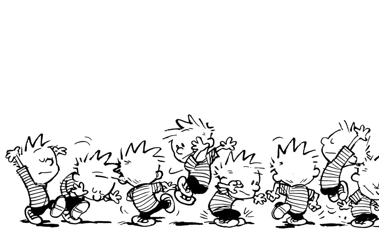 Photo wallpaper b/W, comic, jumping, dancing, Calvin, Calvin