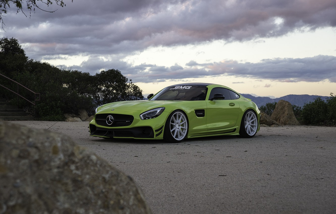 Photo wallpaper Roadster, Mercedes, Clouds, Sky, Green, AMG, Stone, GT C