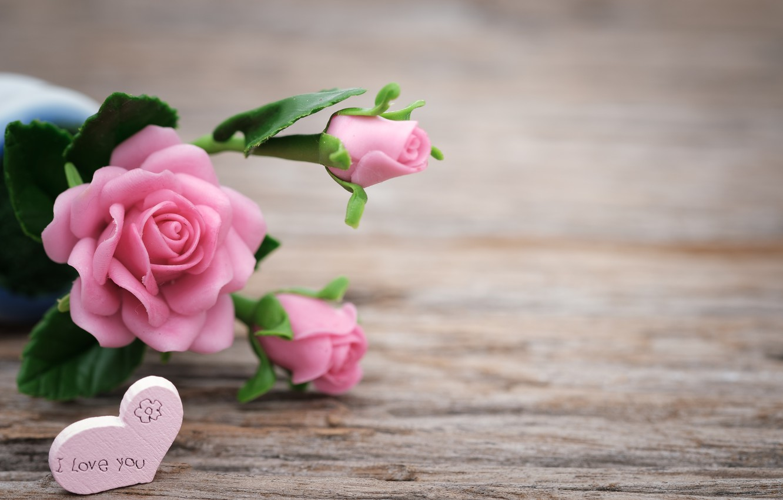 Photo wallpaper love, flowers, roses, love, pink, buds, heart, pink, flowers, beautiful, romantic, roses