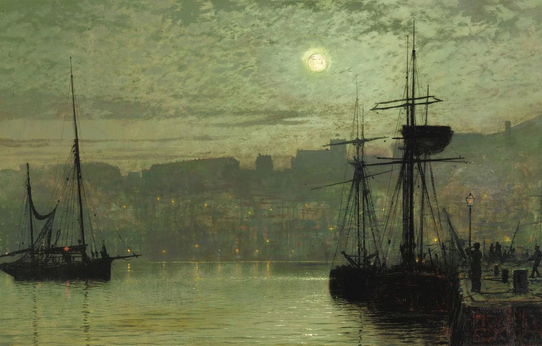 Wallpaper Night Ship Picture The Moon The Urban Landscape John