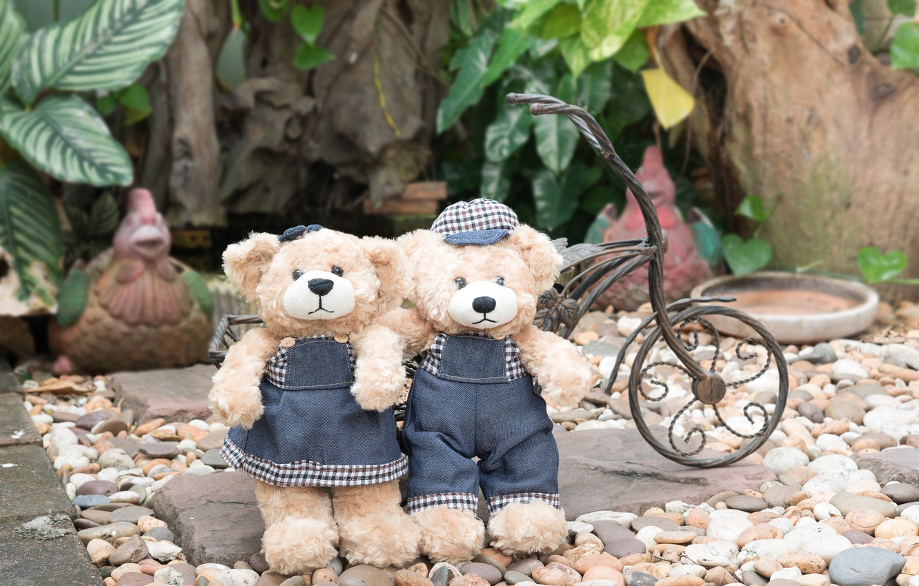 Photo wallpaper love, toy, bear, pair, love, two, beach, bear, romantic, teddy